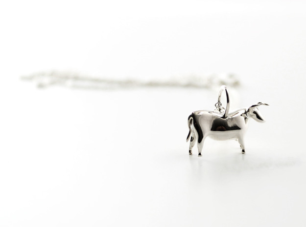 Paleolithic Bull Pendant - Archaeology Jewelry in Polished Silver