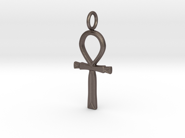 Ancient Egyptian Ankh amulet (version 2) in Polished Bronzed-Silver Steel