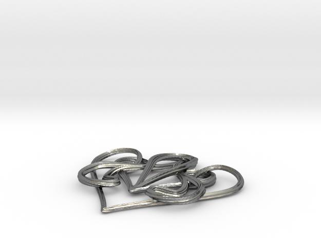 Nouveau Swirl Heart Pendant 3d printed