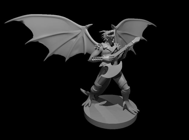 Dragonborn Male Bard with Axe Guitar in Smooth Fine Detail Plastic