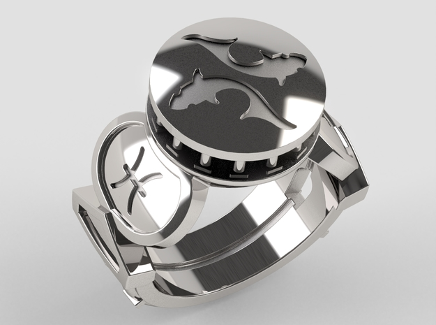 Pisces Ring in Polished Silver: 10 / 61.5