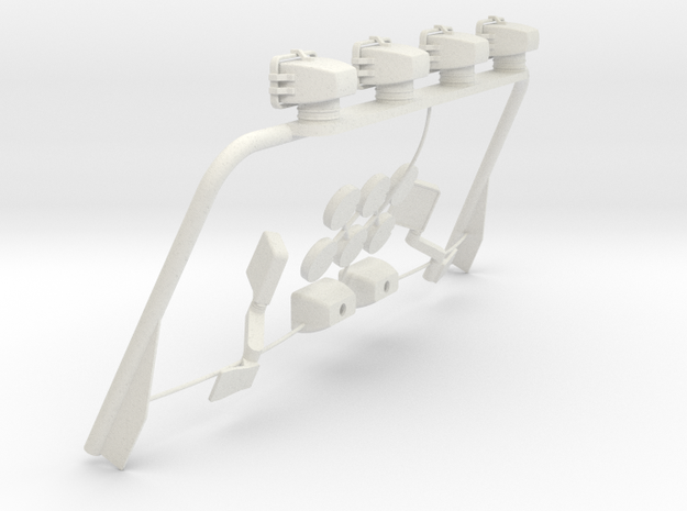 Tamiya Jeep Light Bar, Mirrors, rear fogs Assy in White Natural Versatile Plastic