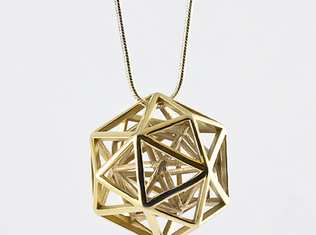 Faceted Icosa Pendant 3d printed