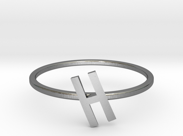 Letter H Ring in Polished Silver: 7 / 54