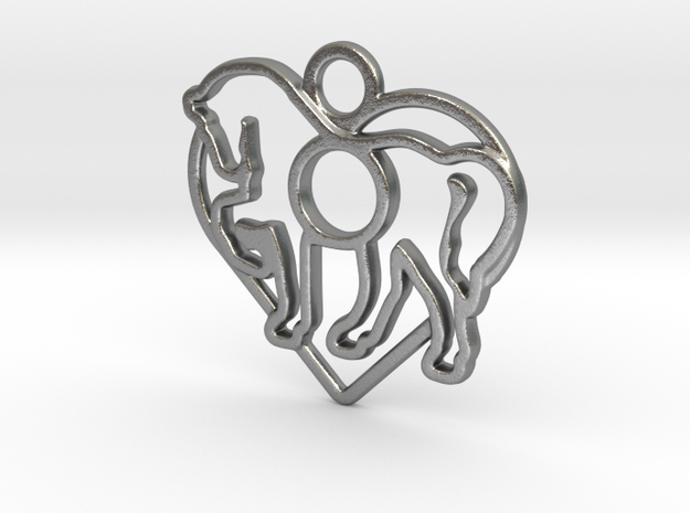 horse & heart intertwined pendant with 10 mm round in Natural Silver