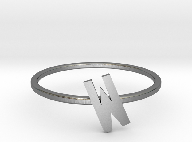 Letter W Ring in Polished Silver: 7 / 54