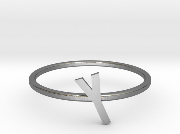 Letter Y Ring in Polished Silver: 7 / 54