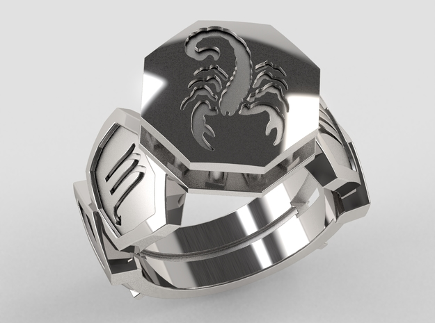 Scorpio Ring in Polished Silver: 10 / 61.5