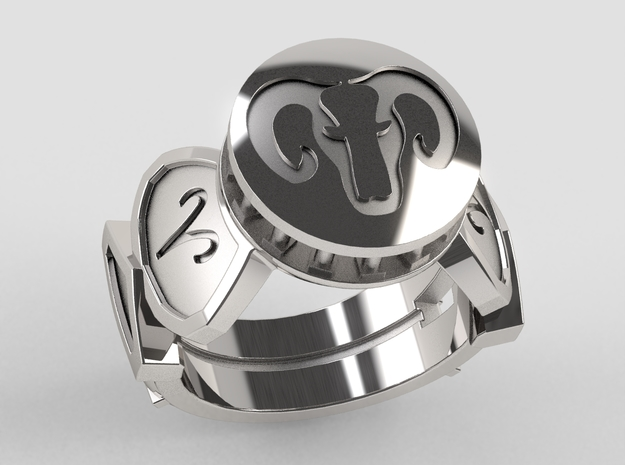 Aries Ring in Polished Silver: 10 / 61.5