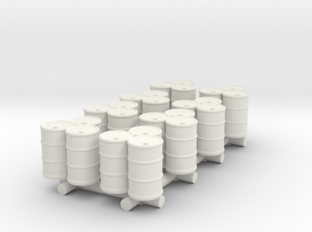 Set of 3 Oil Drums (x8) in White Natural Versatile Plastic