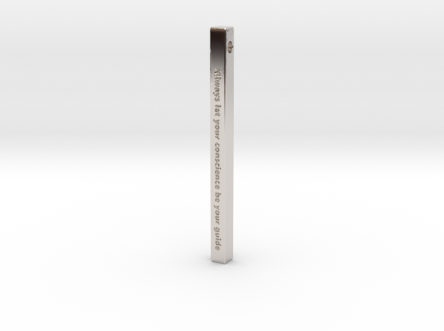 """Vertical Bar Customized Pendant """"Always Let Your"""" in Rhodium Plated Brass"""