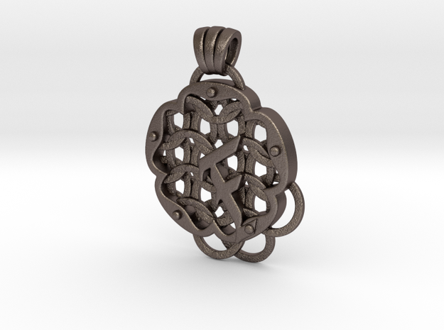 Chain Mail Pendant F in Polished Bronzed-Silver Steel