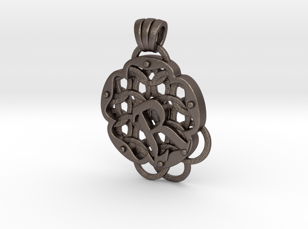 Chain Mail Pendant R in Polished Bronzed-Silver Steel