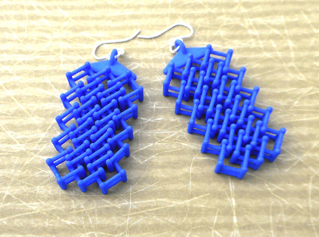 Lattice -- earrings in nylon plastic in Blue Processed Versatile Plastic