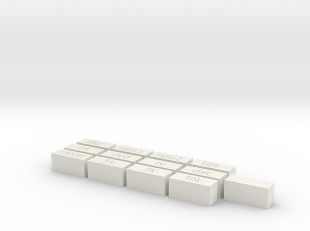 Quad 33 Buttons in White Natural Versatile Plastic