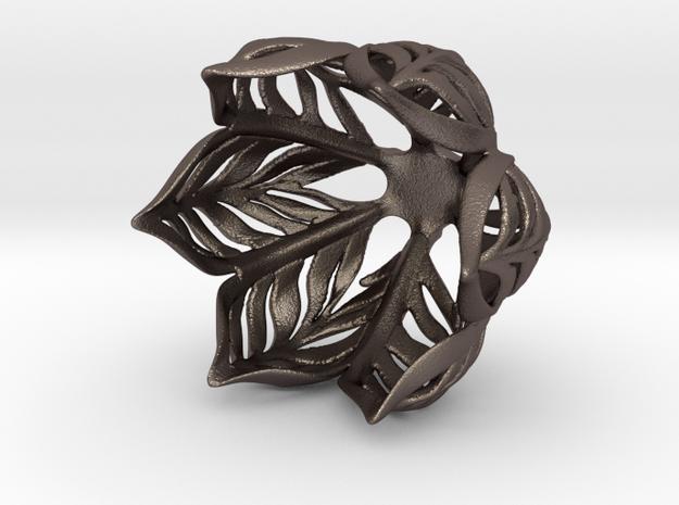 Clean Leaf Vase in Polished Bronzed Silver Steel