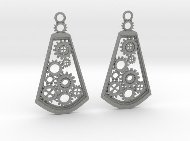 Steampunk earrings in Gray PA12: Medium