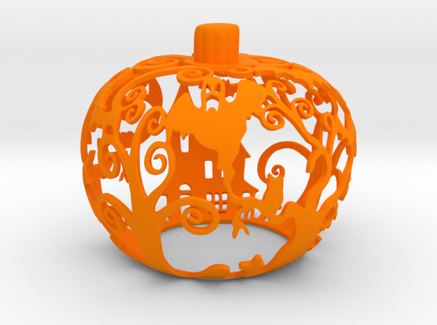 Pumpkin Tealight Holder in Orange Processed Versatile Plastic