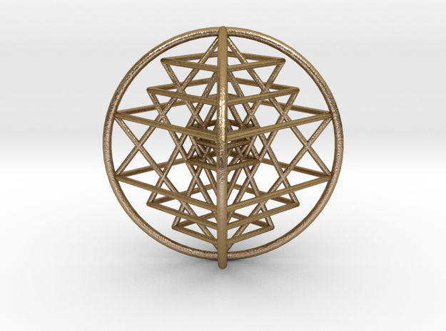 3D Sri Yantra Optimal Large in Polished Gold Steel