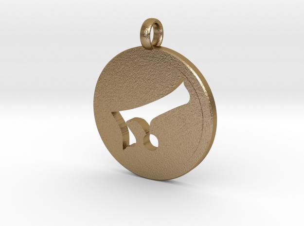 Alaph Symbol Pendent in Polished Gold Steel