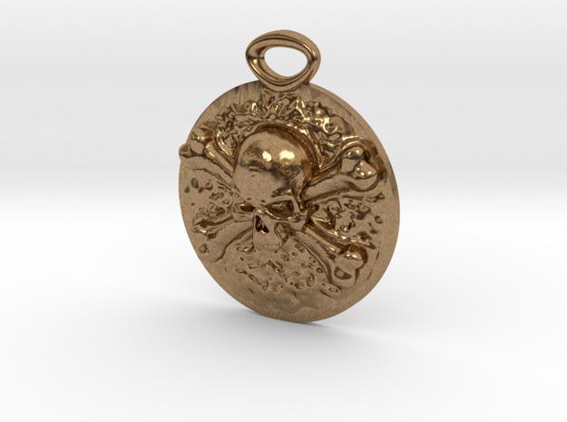 """Concho"" Skull and Crossbones medallion in Natural Brass"