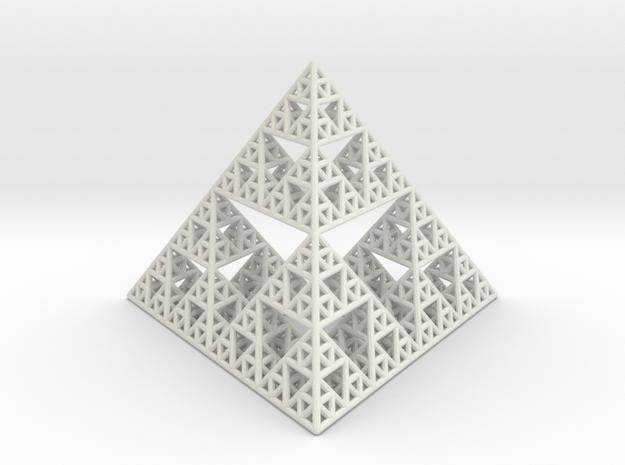 Sierpinski Pyramid in White Natural Versatile Plastic