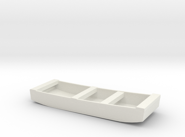 1/96 Scale 14 ft Punt General Purpose Work Boat US in White Natural Versatile Plastic