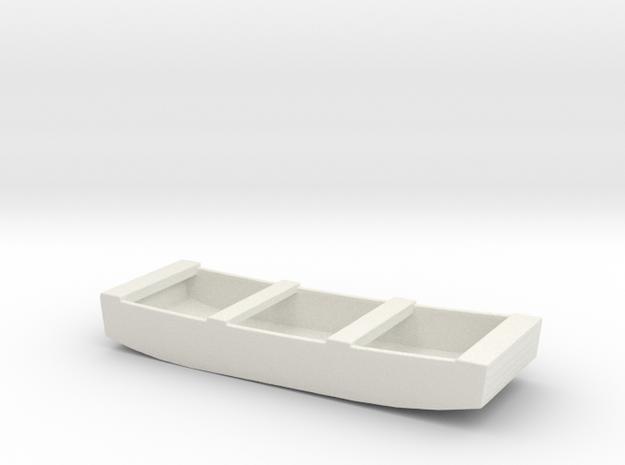 1/96 Scale 12 ft Punt General Purpose Work Boat US in White Natural Versatile Plastic