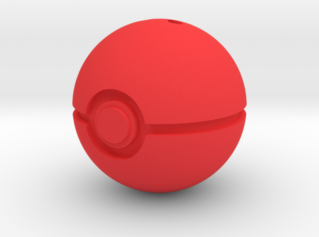 PokéBall Keychain/Pendant Charm in Red Processed Versatile Plastic