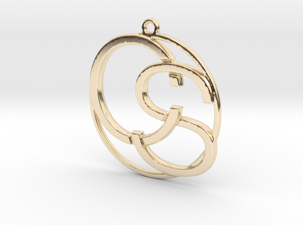 C&S Monogram Pendant in 14k Gold Plated Brass