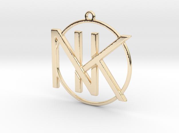 K&N Monogram Pendant in 14k Gold Plated Brass