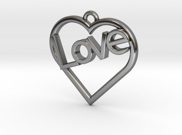 "Heart ""Love"" Pendant in Fine Detail Polished Silver"
