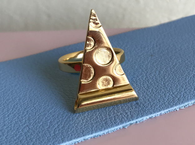 Pizza Ring  in 18k Gold Plated Brass