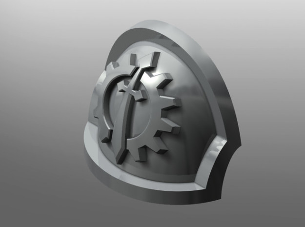 Ravenous ptrn Shoulder Pads: Iron Lions in Smooth Fine Detail Plastic: Small