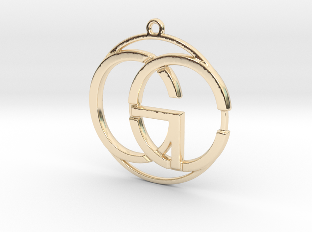 C&G Monogram Pendant in 14k Gold Plated Brass