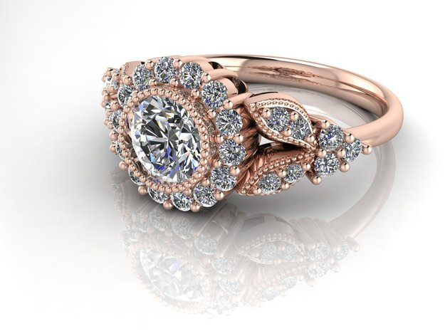 Grace vintage engagement ring NO STONES SUPPLIED in 14k Rose Gold