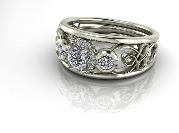 Filigree halo engagement ring NO STONES SUPPLIED in Fine Detail Polished Silver