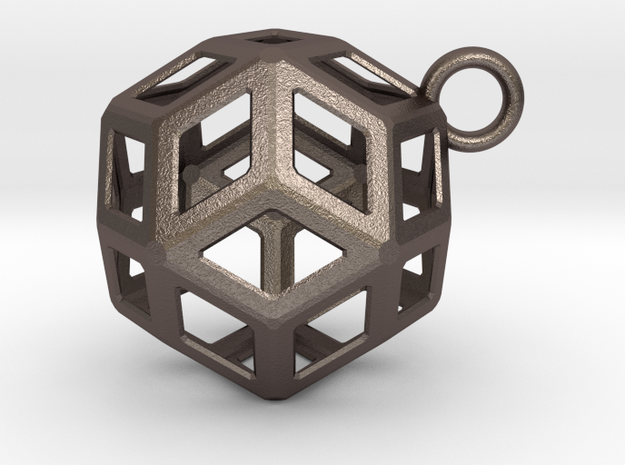 Rhombic triacontahedron pendant in Polished Bronzed-Silver Steel