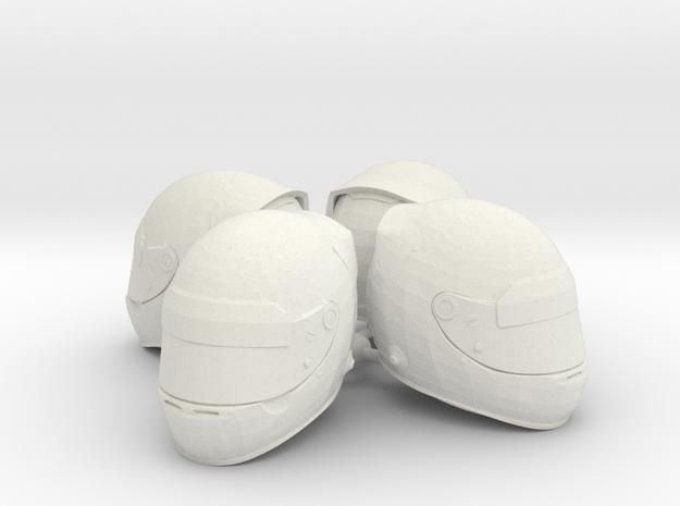 F1 Helmet 1/15 4pack in White Natural Versatile Plastic