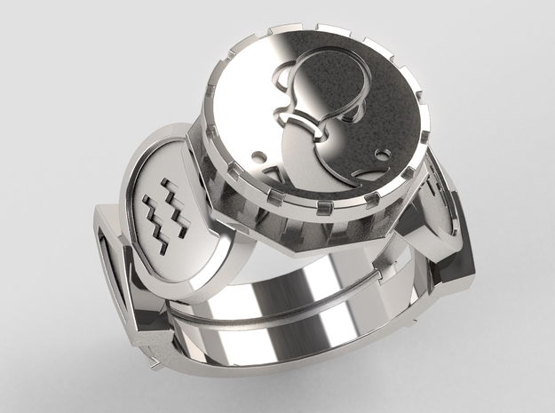 Aquarius Ring in Polished Silver: 10 / 61.5