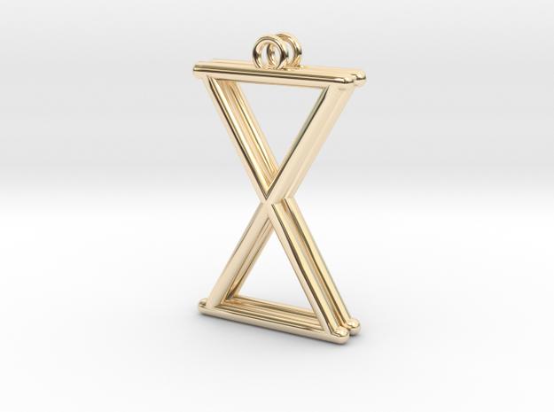 X/Hourglass Earrings in 14k Gold Plated Brass