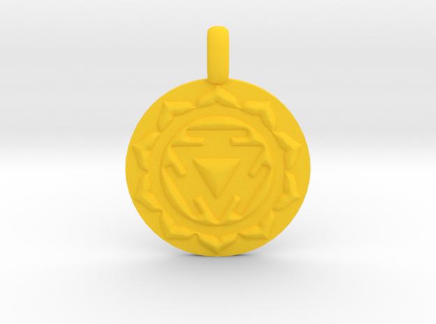 SOLAR PLEXUS MANIPURA Chakra Symbol Pendant in Yellow Processed Versatile Plastic