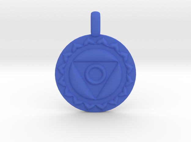 VISHUDDHA Throat Chakra Symbol Pendant  in Blue Strong & Flexible Polished