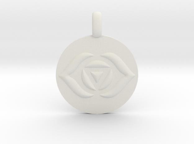 AJNA THIRD EYE Chakra Symbol jewelry Pendant in White Natural Versatile Plastic