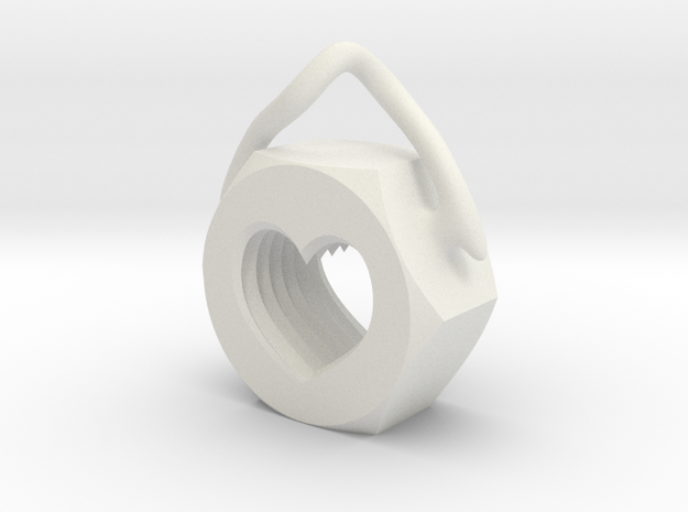 Heart Nut Pendant in White Natural Versatile Plastic