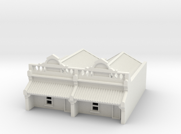 N Scale Terrace House 1 Storey (Double) 1:160 in White Natural Versatile Plastic