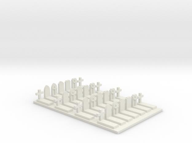 N Scale Cemetery Graves Graveyard (L) 1:160 in White Natural Versatile Plastic