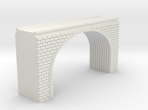 N Scale Arch Bridge Double Track (narrow) 1:16 in White Natural Versatile Plastic