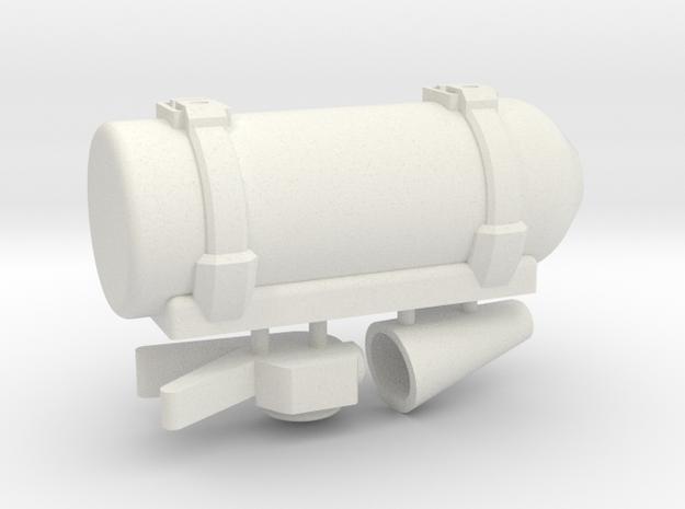 Scale Fire Extinguisher 1:10 in White Natural Versatile Plastic: 1:10