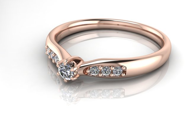 Tiny 6 claw engagement ring NO STONES SUPPLIED in 14k Rose Gold